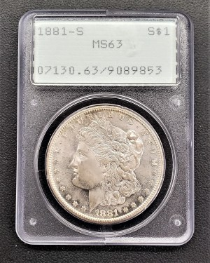 M04-21 1881 Morgan Silver Dollar PCGS MS63