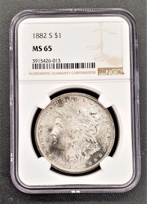 M04-37 1882 Morgan Silver Dollar NGC MS65