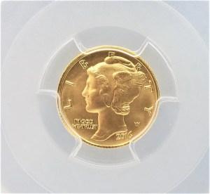 Gold Coins C49: 2016 W 999 1/10 oz Gold Mercury Dime 10c PCGS SP 70 First Strike 100th Ann.