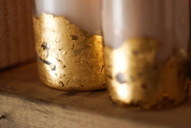 DIY bougies feuille d'or - Tutoriel étape par étape