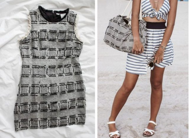 diy upcycle beache bag before after