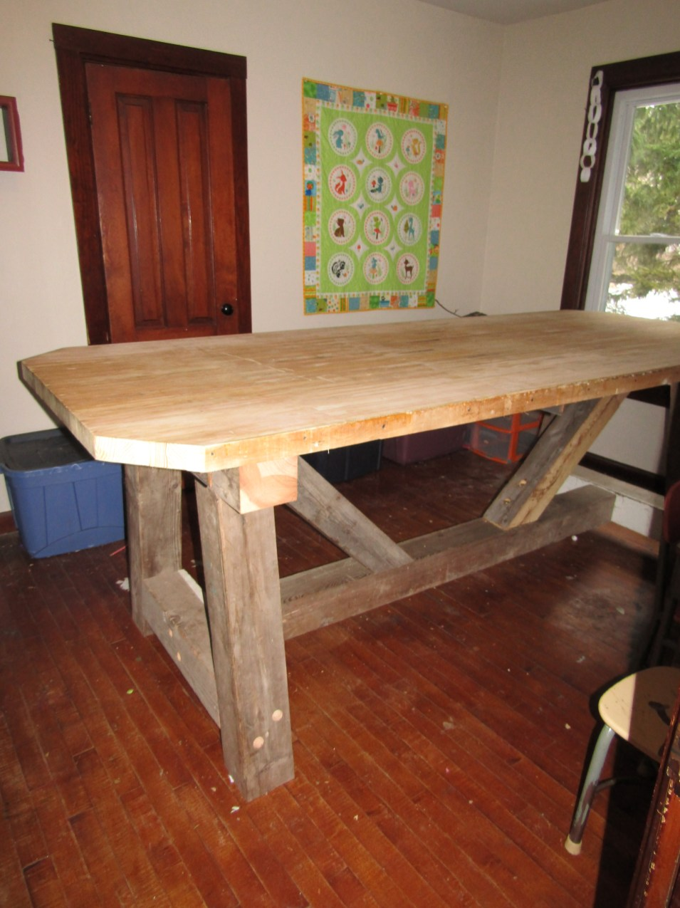 table legs built from barn beams.