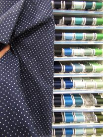 I opted to match my thread with my navy fabric, but not all navy is created equal! Look at that row of blues!