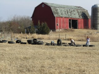 Here's part of the mound of tires waiting to be moved.