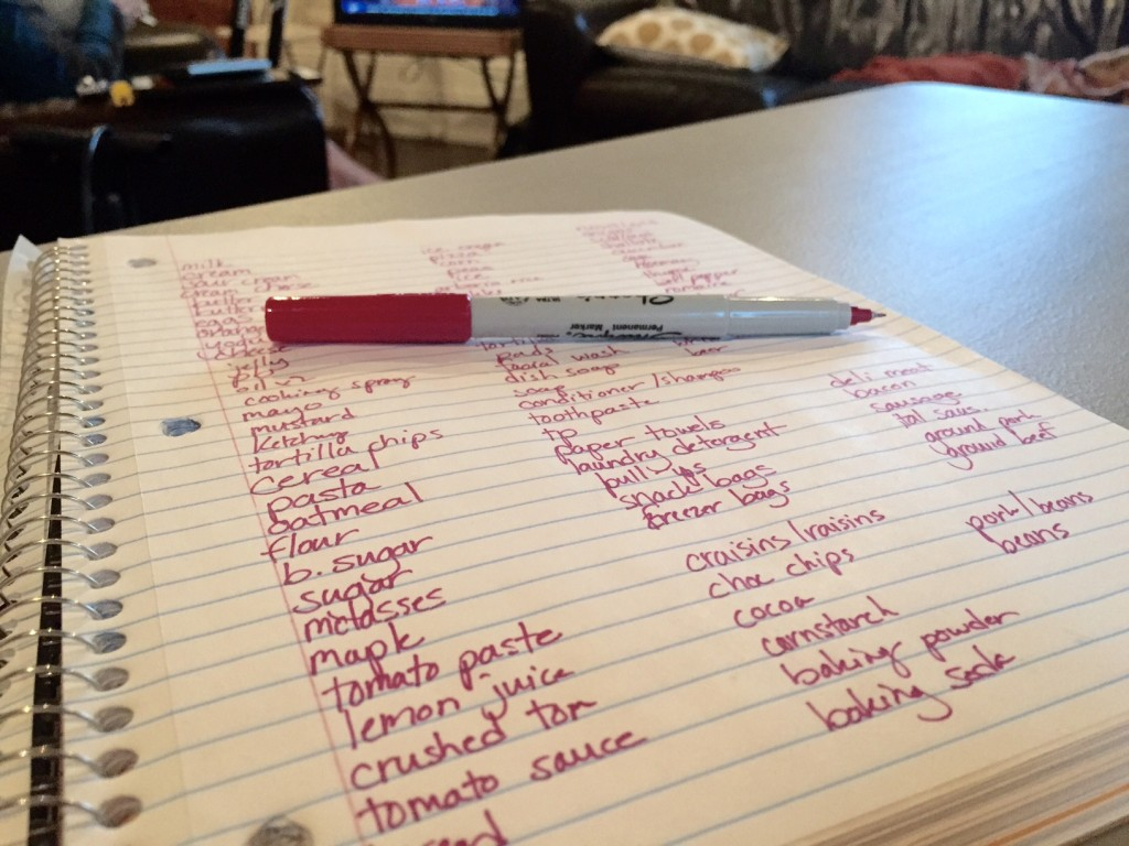 Creating A Master Grocery List