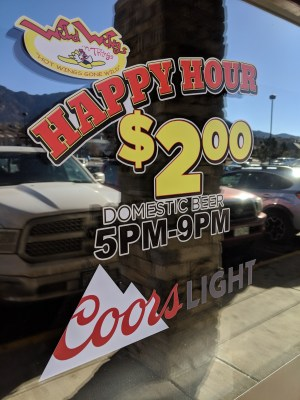 Happy Hour Sign - Wild Wings n Things - Southeast Colorado Springs