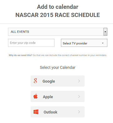 add the nascar 2015 schedule