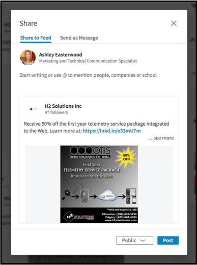 How to Share a LinkedIn Company Page Post to Your Personal Page - Springwood Marketing, LLC - 3