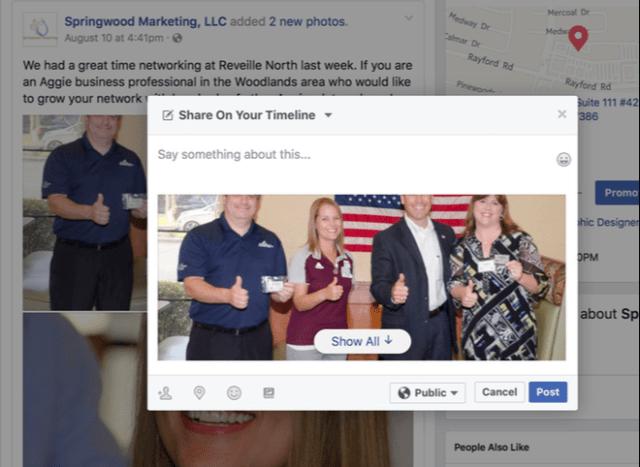 Social Media Guide - Facebook Share on Your Timeline - Springwood Marketing, LLC