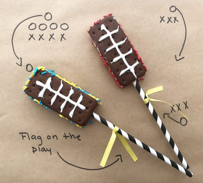 Completed football ice cream sandwiches