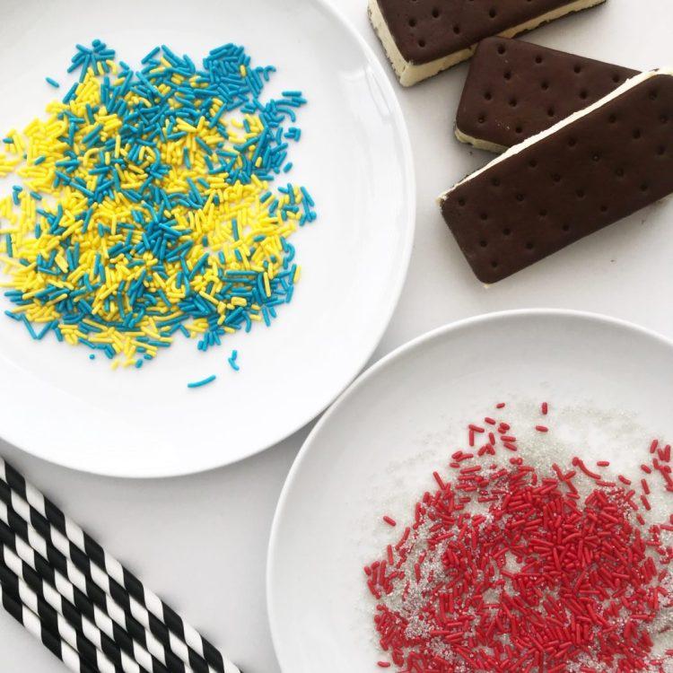 Closeup of team-colored sprinkles