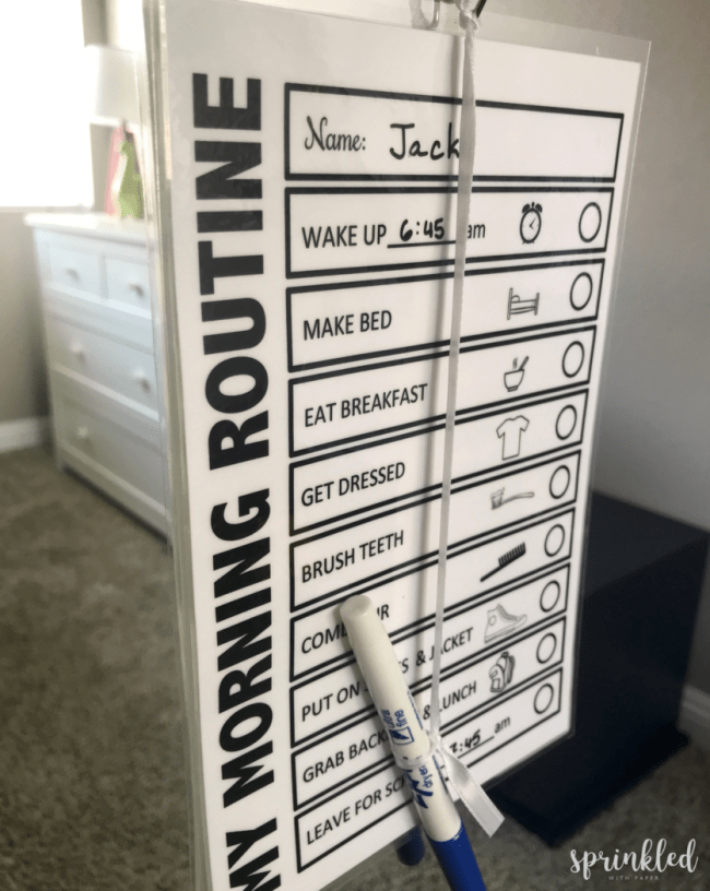 Closeup of morning routine checklist in Jack's room