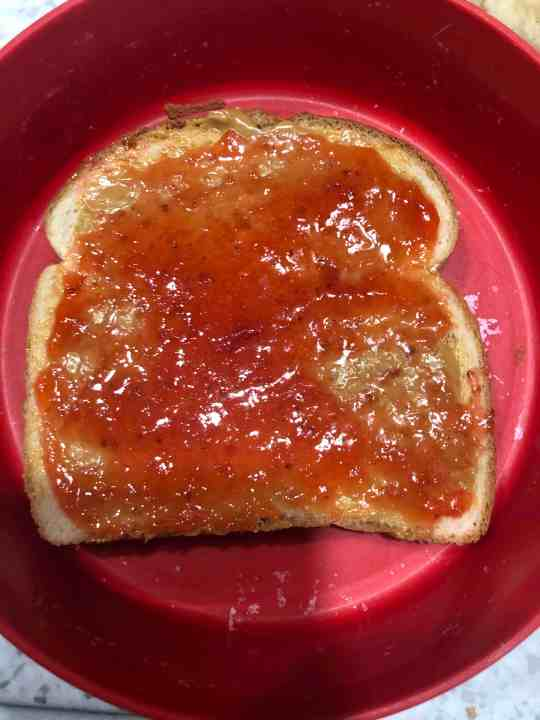 strawberry jam on PB&J