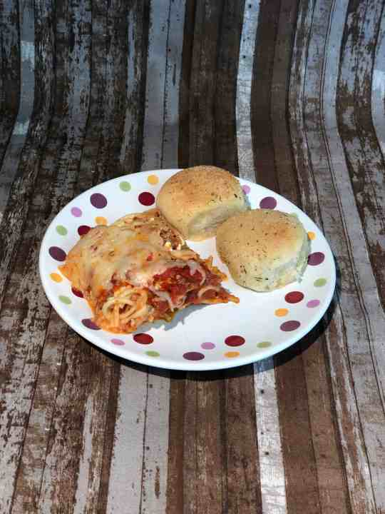 Baked Spaghetti and Garlic Parmesan Rolls