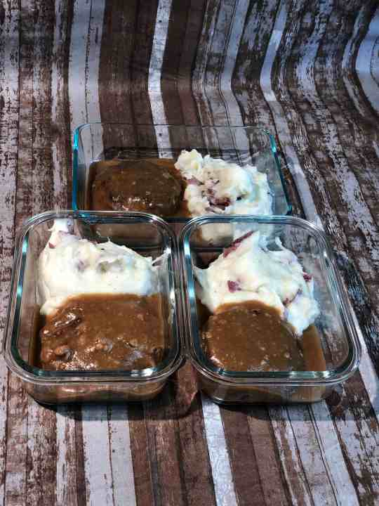 Meal Prep Slow Cooker Chopped Steak and Garlic Mashed Red Potatoes