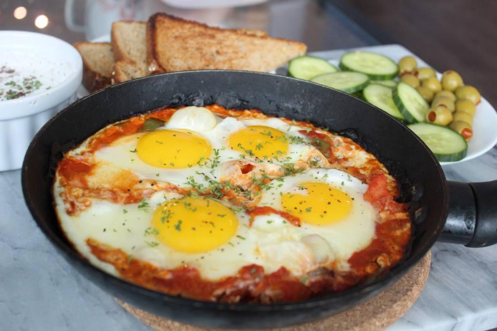 Turkish Breakfast - Poached eggs in skillet