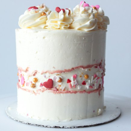 Sprinkle Fault Line Cake for Valentine's Day