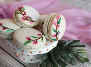 Hand Painted Floral Macarons