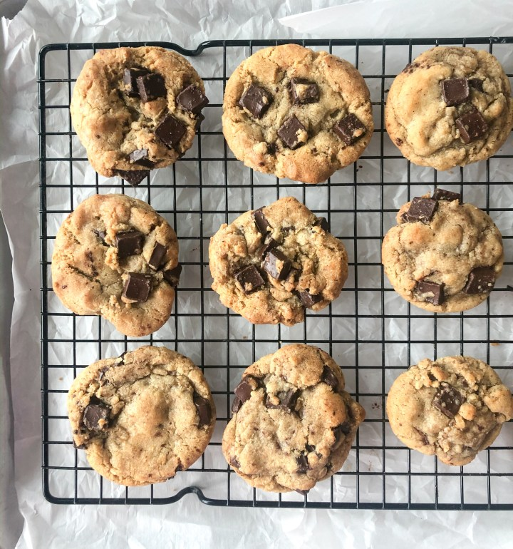 espresso chocolate chip cookies cooling on a rack