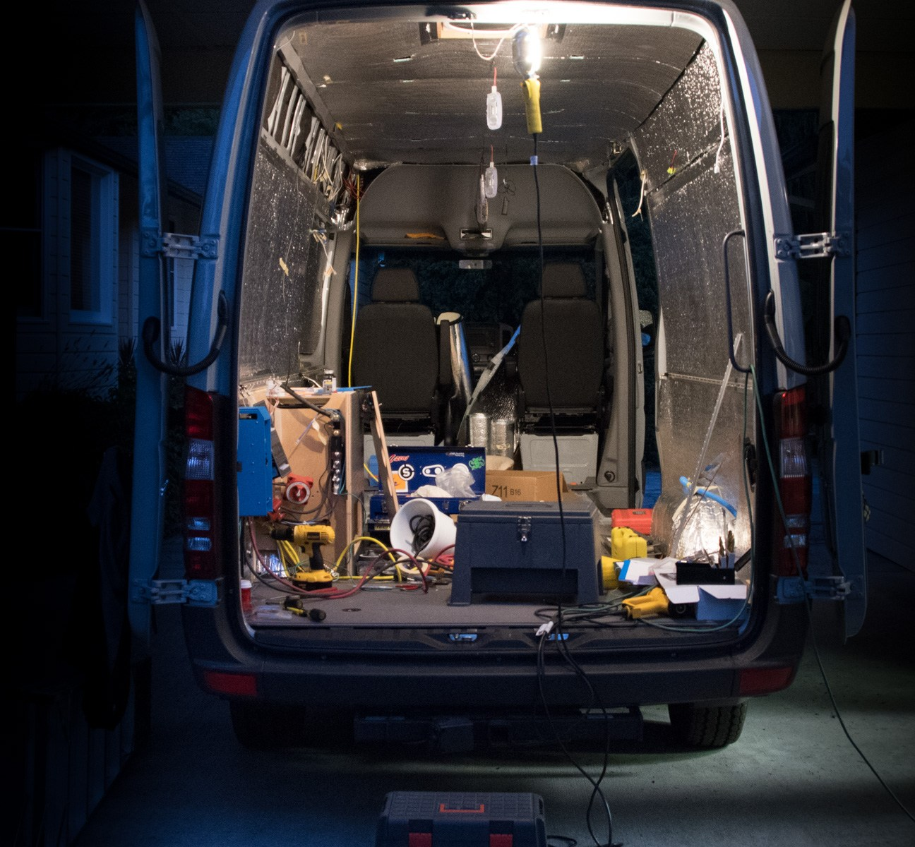 Working on the van at night