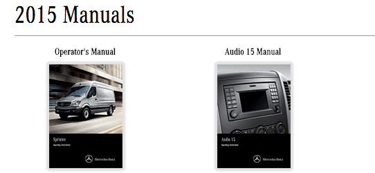 Mercedes Sprinter Manuals download site
