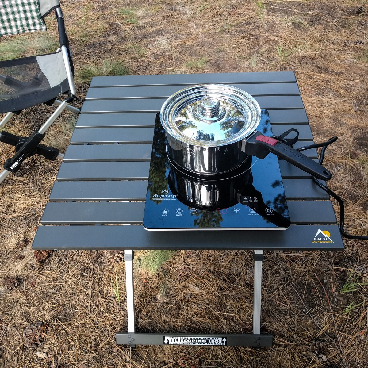 Portable induction cooktop can be used inside or outside the van