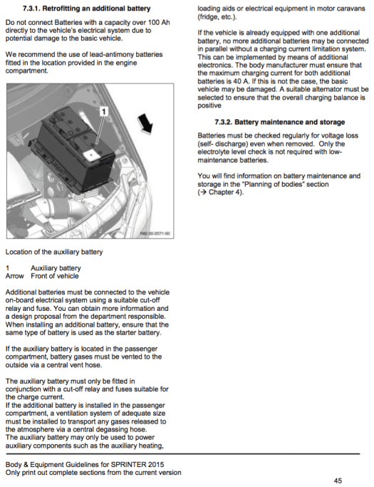 Page 45 of the 2015 Mercedes Body and Equipment Guidelines - aux battery info