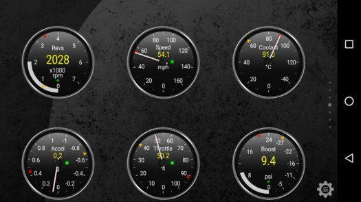 The default gauge design in Torque Pro