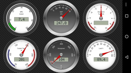 "A typical ""dashboard"" in Dash Command. Gauges are harder to read - especially the low-contrast ""LCD effect"" insets"