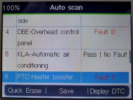 Auto-scan results with the MD802 diagnostic tool