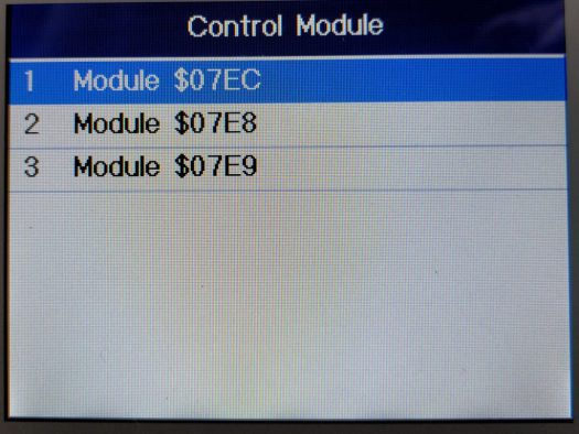 The generic OBDII scan can also drill down into a couple of the control modules