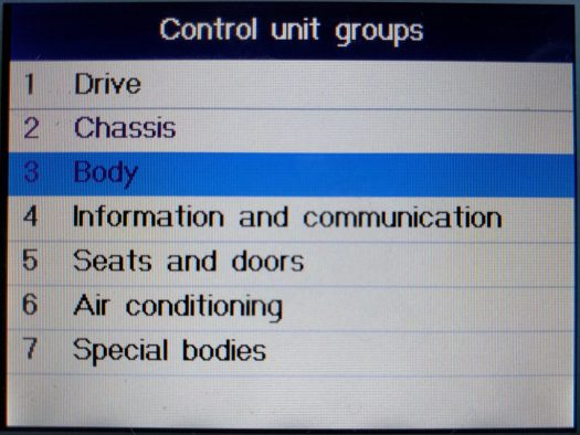 The SRS system is in the Body control unit group