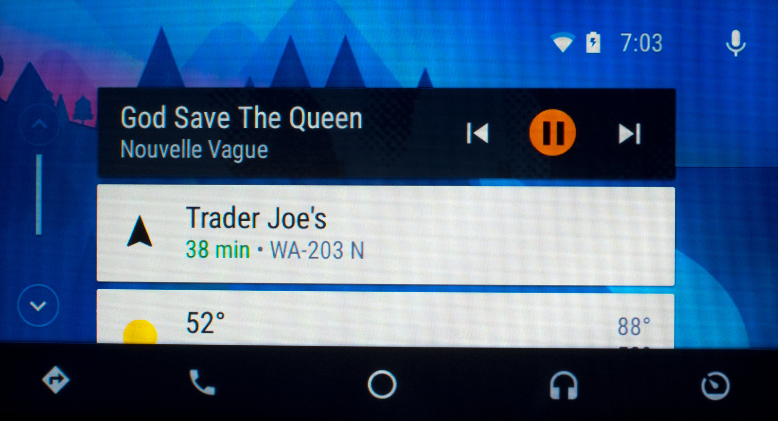 """Android Auto uses """"cards"""" to show discrete pieces of information such as weather, navigation, music, or texts"""