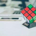Rubiks cube on a desk