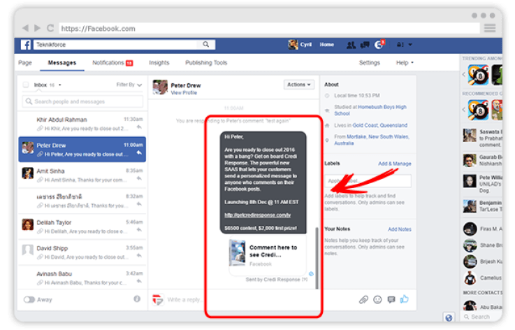 How to Send Facebook Personal Message Who Comment on Your Post Automatically in Inbox