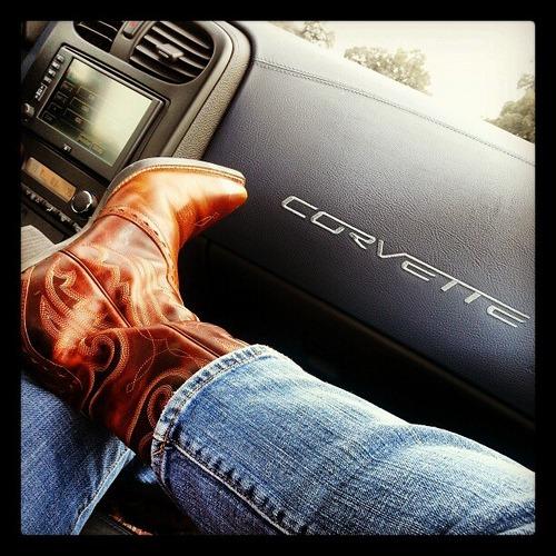 Kickin' in my 'vette. Pre-#blissdom hotroddin' fun. #ChevyBliss