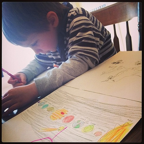 Planet practice. He loves space. #preschool