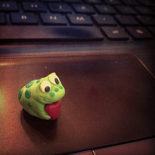 Little Frog I made a long time ago with clay. Baby was carrying it around today.