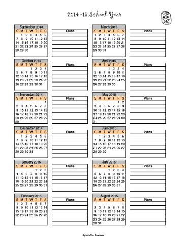 Blank 2014-15 Year at a Glance Schoolyear Calendar