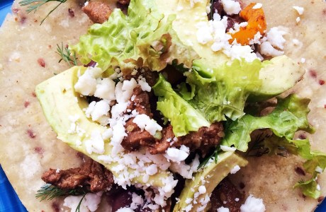 Chipotle-Sesame Beef Tacos with Cotija, Avocado and Cilantro