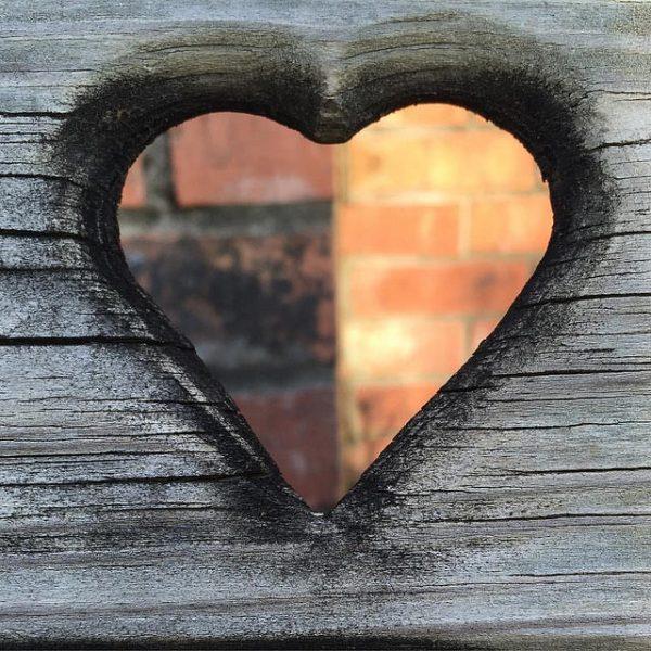 brick and wood heart