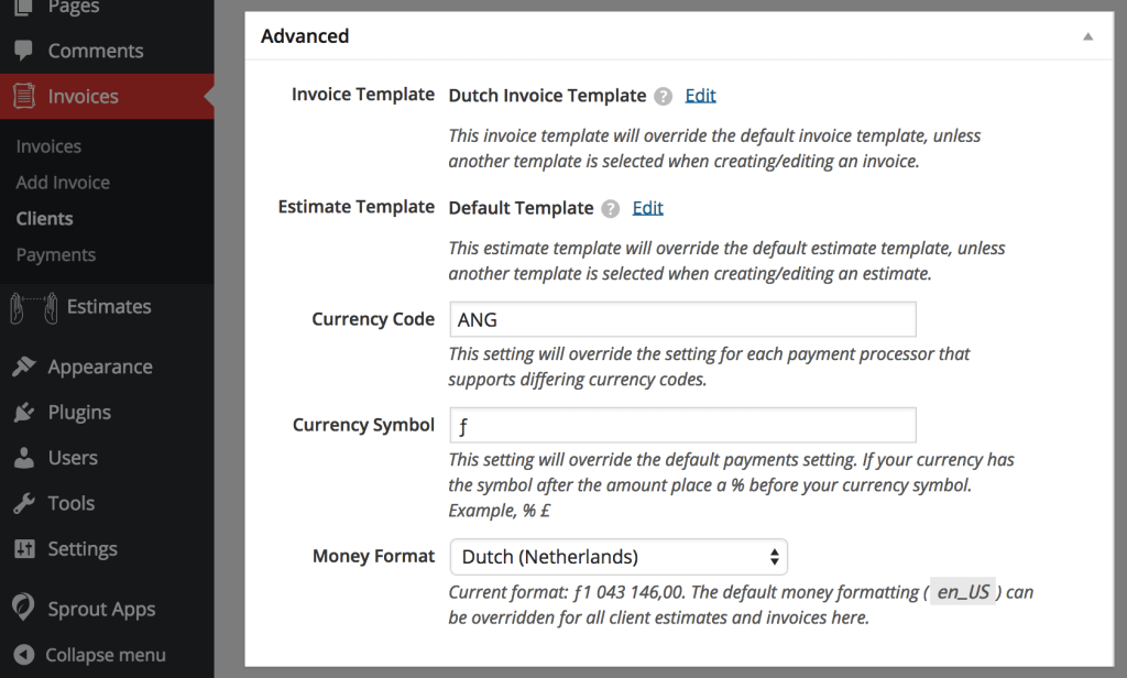 Sprout Invoices 11 Release Multi Currency Money Formatting And