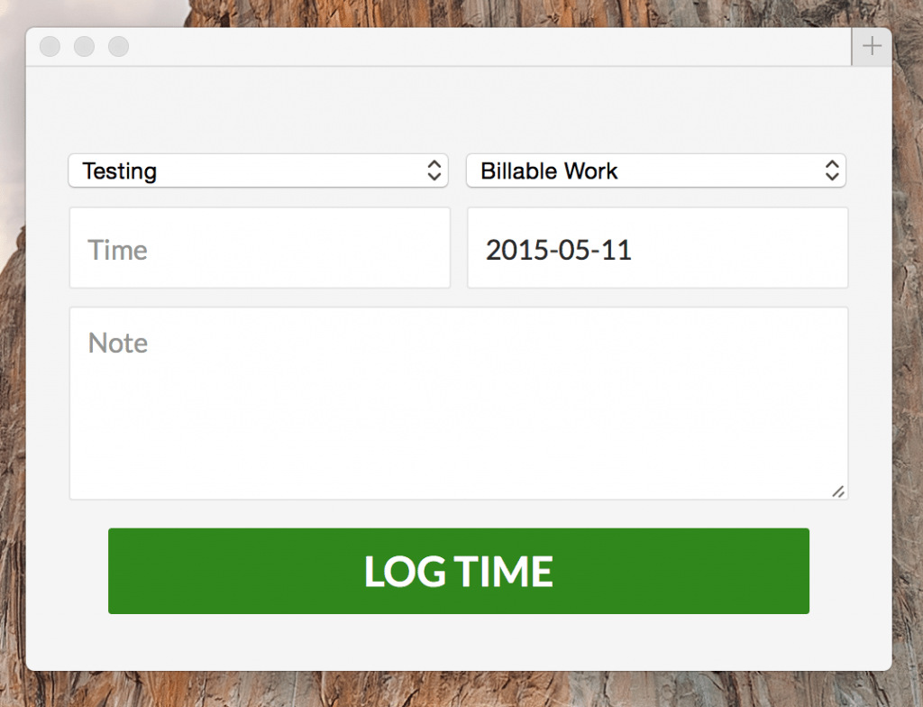 web accessible time tracker