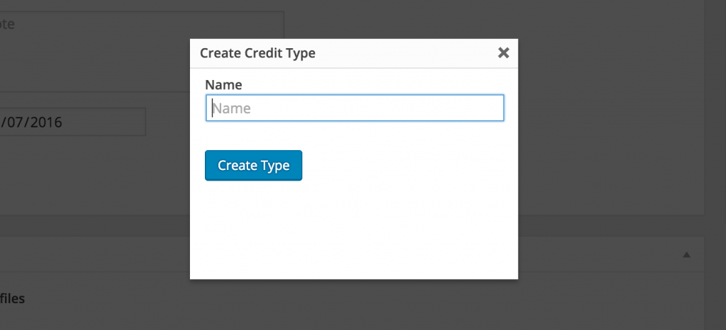Adding a credit type