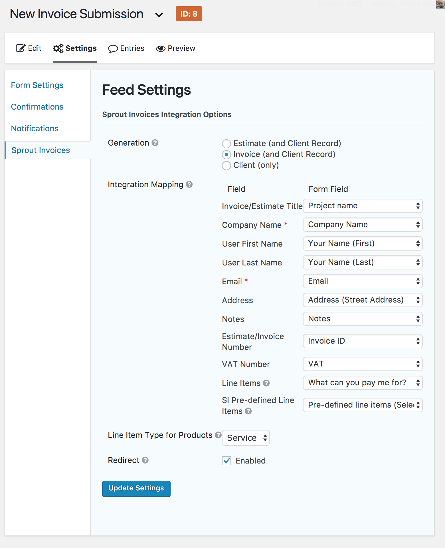 new gravity forms integration for invoices and estimate submissions