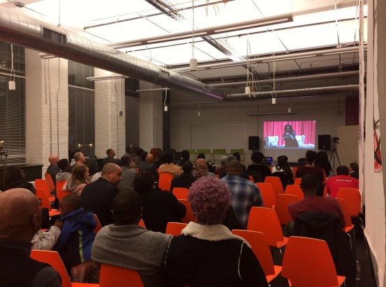 "Sprout CoWorking Providence. Photo of YesPVD's RI Community Doc Screening of ""Suppressed: The Fight to Vote"" in our Riverside Event Venue."