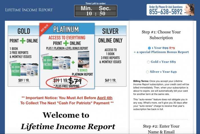 Cash-for-patriots-program-Lifetime-Income-Report-Sales