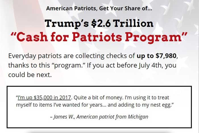 Cash-for-patriots-program-Misleading-Information