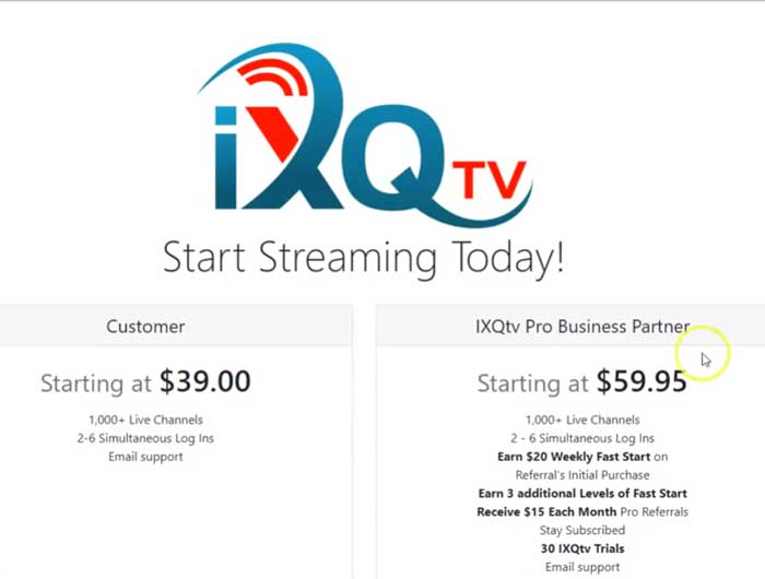 Ixqtv reviews-Customer-&-promoter-plan