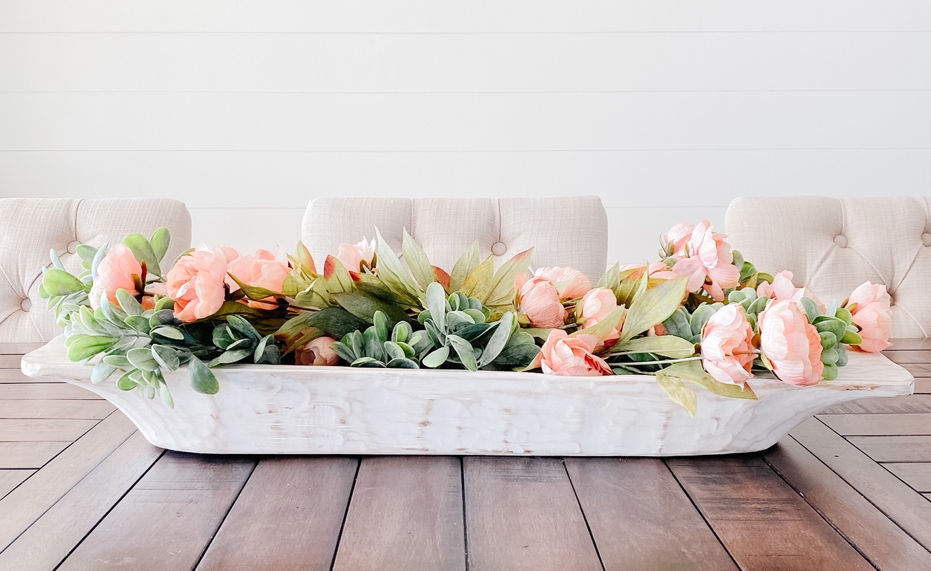 Simple Spring Centerpiece with faux florals